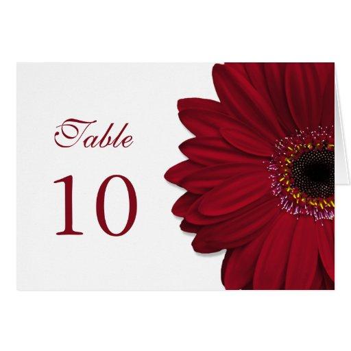 Tarjeta de color rojo oscuro de la tabla del boda