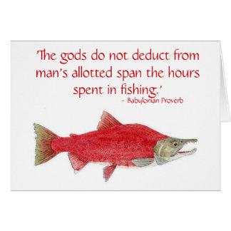 Tarjeta de color salmón chistosa con la cita 2