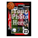 Tarjeta de comercio del baloncesto, tamaño rojo de tarjeta de negocio