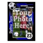 Tarjeta de comercio del fútbol, tamaño azul de la plantillas de tarjetas personales