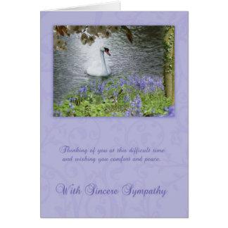 Tarjeta de condolencia con el cisne y el arbolado