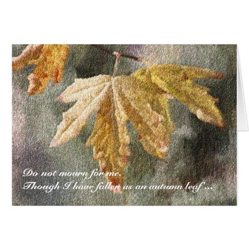 Tarjeta de condolencia de la hoja del otoño