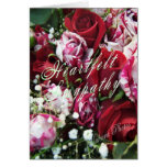 Tarjeta de condolencia de los rosas de la