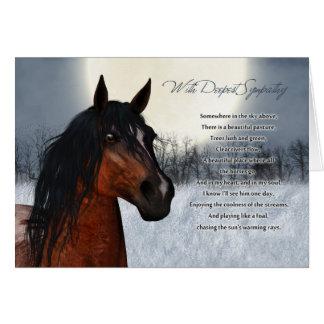 Tarjeta de condolencia del caballo del mascota, pé