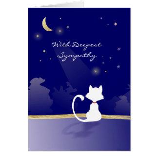 Tarjeta de condolencia del gato - luna y estrellas