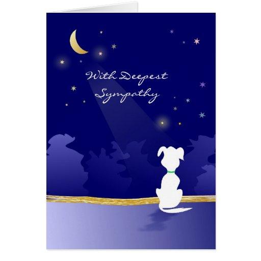 Tarjeta de condolencia del perro - luna y estrella