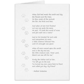 Tarjeta de condolencia del perro - poema del perro