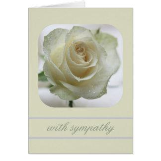 tarjeta de condolencia del rosa blanco