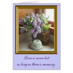 Tarjeta de condolencia enmarcada de las lilas