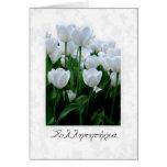 Tarjeta de condolencia griega con los tulipanes bl
