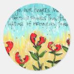 Tarjeta de condolencia pensativa y creativa pegatina redonda