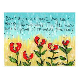 Tarjeta de condolencia pensativa y creativa tarjetas postales