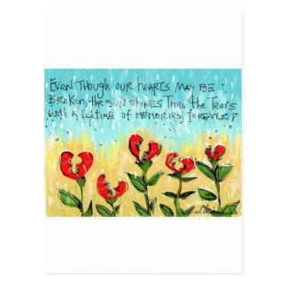 Tarjeta de condolencia pensativa y creativa postal