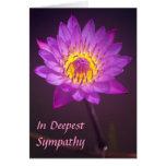 Tarjeta de condolencia púrpura de la flor de Lotus
