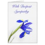 Tarjeta de condolencia púrpura de la flor del iris