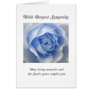 Tarjeta de condolencia religiosa color de rosa azu