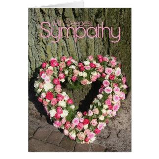 Tarjeta de condolencia rosada del corazón de los r