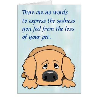 Tarjeta de condolencia triste del mascota del dibu