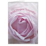 Tarjeta de condolencia, un color de rosa rosado