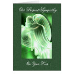 Tarjeta de condolencia verde del ángel