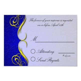 """Tarjeta de contestación azul cuarta del damasco invitación 3.5"""" x 5"""""""