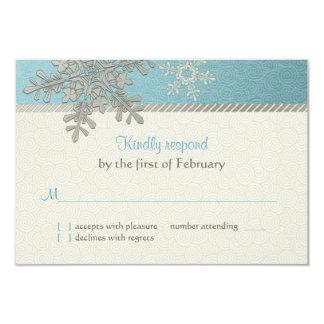 Tarjeta de contestación azul de plata del boda del invitacion personal