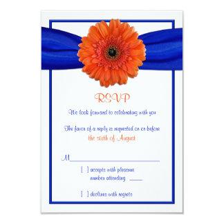 Tarjeta de contestación azul del boda de la invitaciones personalizada