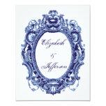Tarjeta de contestación azul del boda del marco invitación personalizada