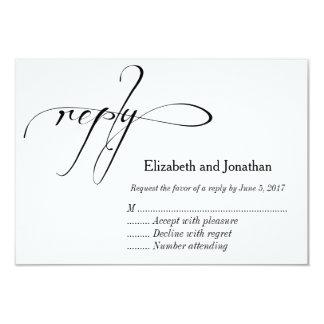 """Tarjeta de contestación blanco y negro del boda de invitación 3.5"""" x 5"""""""