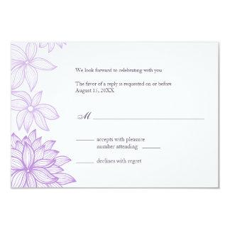 """Tarjeta de contestación contorneada de la lila de invitación 3.5"""" x 5"""""""