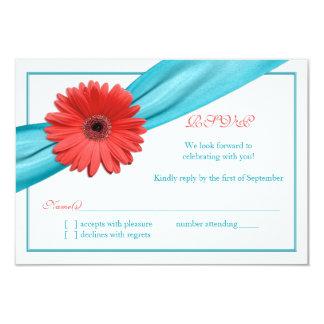 Tarjeta de contestación coralina del boda de la invitaciones personalizada