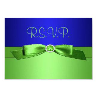 Tarjeta de contestación de la verde lima y del invitaciones personales