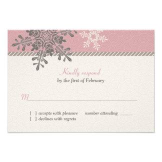Tarjeta de contestación de marfil rosada del boda invitacion personal