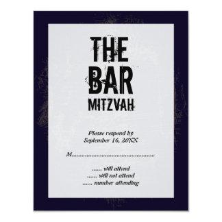 """Tarjeta de contestación de Mitzvah de la barra de Invitación 4.25"""" X 5.5"""""""