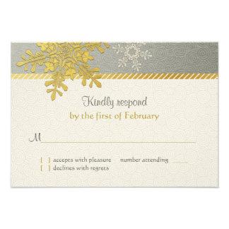 Tarjeta de contestación de plata del boda del invi comunicados personalizados