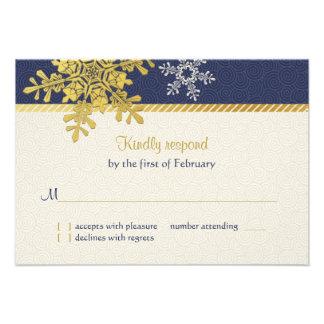 Tarjeta de contestación del boda del invierno del invitación personalizada