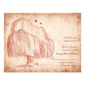 Tarjeta de contestación del boda del sauce del oto invitacion personal