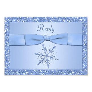 """Tarjeta de contestación del copo de nieve de los invitación 3.5"""" x 5"""""""