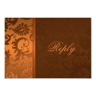 """Tarjeta de contestación del damasco del cobre y de invitación 3.5"""" x 5"""""""