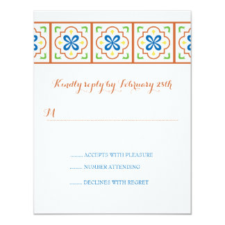 Tarjeta de contestación española de la teja de invitación 10,8 x 13,9 cm