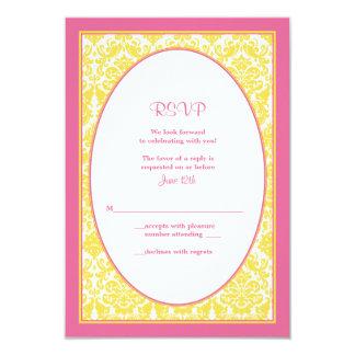 Tarjeta de contestación floral amarilla rosada del comunicados personales