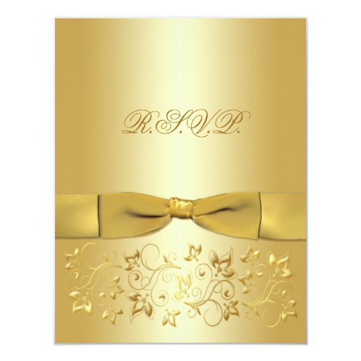 Tarjeta de contestación floral IMPRESA del oro de Anuncios Personalizados