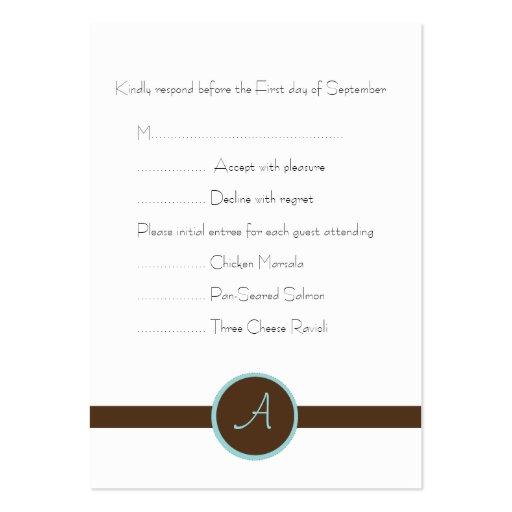 Tarjeta de contestación marrón del monograma tarjetas de visita grandes