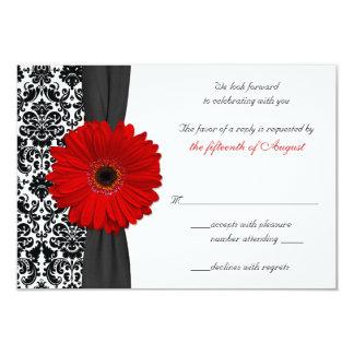 Tarjeta de contestación negra roja del boda del invitación personalizada