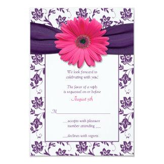Tarjeta de contestación púrpura del boda del comunicados personalizados