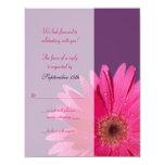 Tarjeta de contestación púrpura y rosada del boda invitacion personal