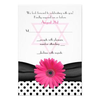 Tarjeta de contestación rosada de Mitzvah del palo