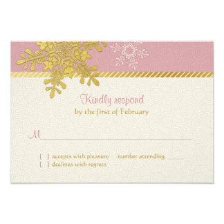 Tarjeta de contestación rosada del boda del invier comunicado personalizado
