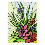 Tarjeta de cristal del jardín de flores de la tarjeta de felicitación