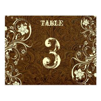 Tarjeta de cuero del número de la tabla de Brown ( Tarjeta Postal